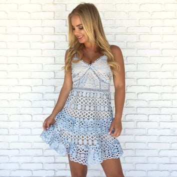 Love Poem Crochet Dress in Blue