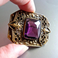Edwardian Purple Amethyst Glass Brooch, Filigree Brass, 2 Tier, Antique