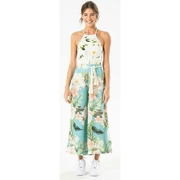 White Floral Print Loose Fit Cropped Pant