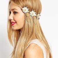 ASOS Floral & Chain Back Alice Band