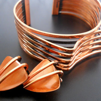 RENOIR Copper Cuff Bracelet & Earring Set, Modernist Atomic, Signed Vintage