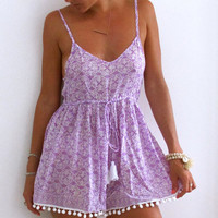 Pom Pom Jumpsuit - Lilac & White Iron Lace Print with White Pom Pom's, Purple Romper - beach playsuit