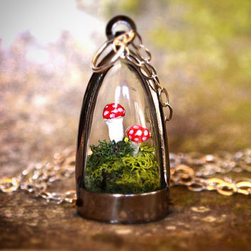 Terrarium Moss and Mushroom Dome Necklace by RenataandJonathan