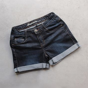 rolled up denim shorts