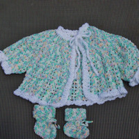 Baby  Sweater Jacket Sacque And Booties