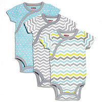 SKIP*HOP® 3-Pack Side Snap Short Sleeve Print Bodysuit in Blue/Grey