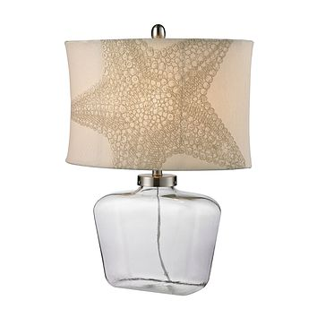 D2617 Clear Glass Bottle Table Lamp in Polished Nickel