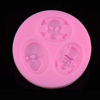 Creative Skull Heads Shape Cake Mould Silicone Fondant Cakes Baking Tools = 1704132036