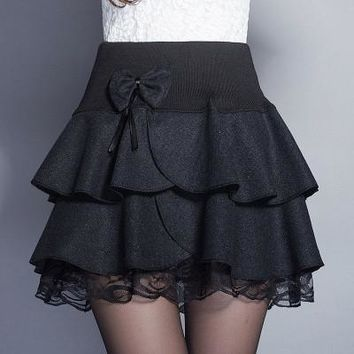 Women's skirts Underskirt 2016 fashion women pleated bow skirt lady's a-line skirts for spring autumn winter free shipping JX214