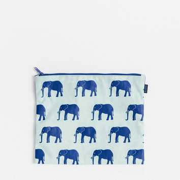 Medium Flat Zip Pouch Sage Elephant