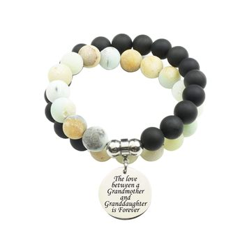 Genuine 10Mm Double Wrap Obsidian Amazonite Mix Bracelet - Love Between Grandmother