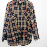 Mens Vintage Plaid Check Flannel Shirt Cotton Soft Button Blue Red White Beige L