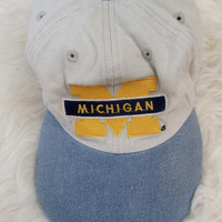Vintage 1990s Michigan Wolverines Denim Snapback Hat