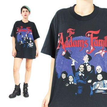 Vintage The Addams Family Tshirt 90s Glow in The Dark Tshirt Goth Tshirt Wednesday Addams Tshirt Tv Show Rock Halloween Tshirt (L/XL)