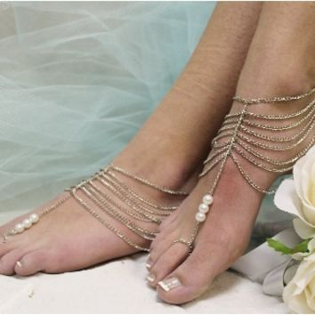 barefoot sandals, foot jewelry, barefoot sandals, wedding shoes, beach wedding, footless sandles,