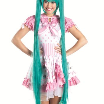 Party King Female Turquoise Long Cosplay Wig With Pigtails Wig WG604TQ
