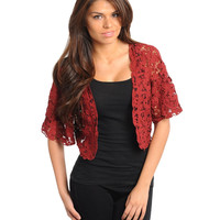 Crochet Burgundy Jacket