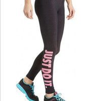 Cotton printed letters yoga pants Pink