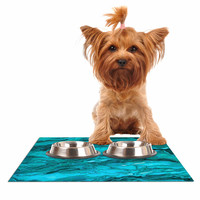 "Ebi Emporium ""Marble Idea! - Light Teal Aqua"" Aqua Blue Dog Place Mat"
