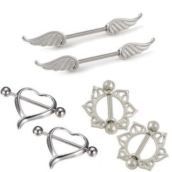 ac DCCKO2Q Hot 1 Pair Unisex Charm Personality Alloy Heart/Wing/ Flower Barbell Ring Body Piercing Jewelry