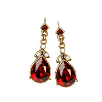 Crystal Pear Earrings in Garnet