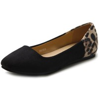 Ollio Women's Shoe Ballet Faux Suede Leopard Two Tone Colored Flat