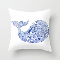 whale Throw Pillow by katya