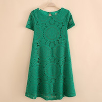 Ladies Vintage Bohemian short sleeve lace dress bottoming dress loose big yards S-XXXXL