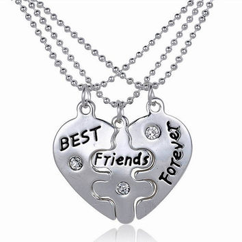 24 Sets Women's Best Friends Forever Split Heart Friendship Necklace Set Jewelry