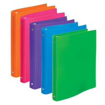 "Bulk Brightly Colored Flexible Poly 3-Ring Binders, 1"" at DollarTree.com"