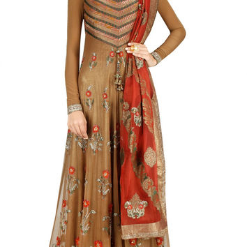 Dark beige color floor length anarkali suit