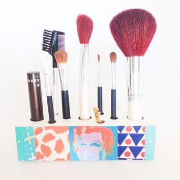 Pop Art Makeup Brush Organizer Decoupage Box