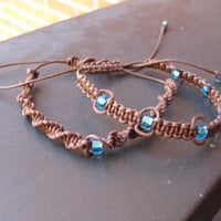 Twin Brown Macramé Bracelets with Blue Beads