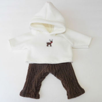 bitty baby clothes Brown Upcycled Pants Legging Christmas Reindeer Hoodie NEW 2P