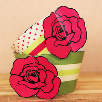 3D Rose Cupcake Wrapper Set in red and olive green - DIY printable party supplies – birthdays, weddings, & showers -  INSTANT DOWNLOAD