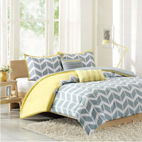 Full/Queen 5 Piece Chevron Stripes Comforter Set In Gray White Yellow