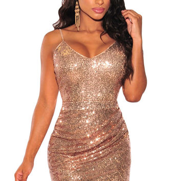 Rose Gold Sequin Ruched Mini Dress