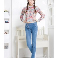 Blue Long Pants Women Autumn Pencil Pants Jean Pants XS/S/M/L/XL/XXL @WH0352bl $13.99 only in eFexcity.com.