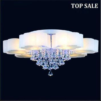 latest fashion absorb dome light LED Crystal ceiling lamp 5 head glass chandelier luminarias para sala Lamparas