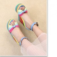 New Arrivals rainbow Stripe Fish mouth Chain Slipsole Sandals Blue, Buy New Arrivals rainbow Stripe Fish mouth Chain Slipsole Sandals Blue with cheapest price|wholesale-dress.net