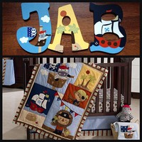 KIDSLINE PIRATE PARTY INSPIRED HAND PAINTED WOOD WALL LETTERS