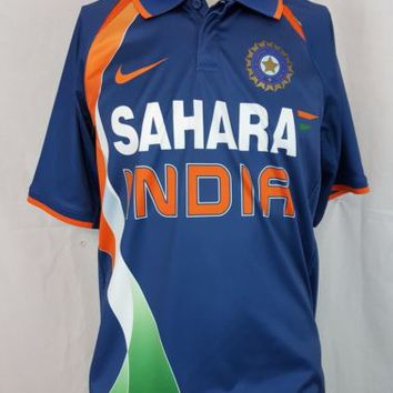 Nike Dri-Fit Sahara India Cricket National Jersey Blue Men's Shirt Size Large