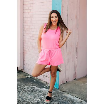 Roll With It Neon Romper - Pink