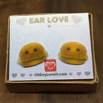 Kawaii Earrings | Kawaii Hamburger French Fry Earrings | BOXED | Handmade | Hypoallergenic Shrink Plastic non metal jewelry | Made in Canada