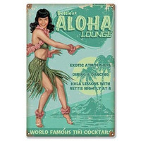 Retro-a-go-go! Aloha Bettie Page Lounge Metal Sign