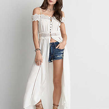 AEO Cold Shoulder Button Duster , White