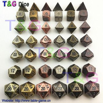 TOP Quality 2017 New Metalic 7 Dice set d4 d6 d8 d10 d% d12 d20 for Board Games Rpg Dados jogos dnd for man special gift