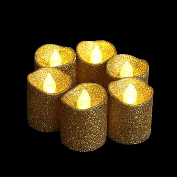 LOGUIDE 12pcs Gold Glitter Votive Candle Battery Powered Flameless LED Weddin...