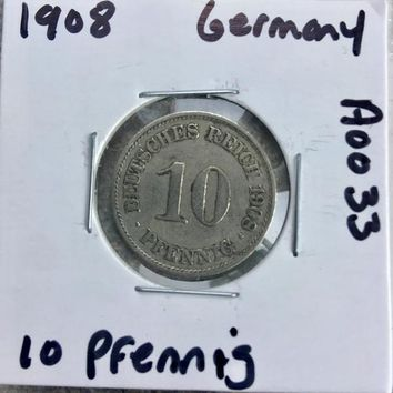 1908 German Empire 10 Pfennig Coin A0033