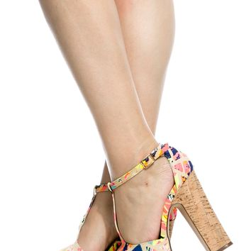 Abstract Print Chunky Peep Toe T Strap Heels @ Cicihot Heel Shoes online store sales:Stiletto Heel Shoes,High Heel Pumps,Womens High Heel Shoes,Prom Shoes,Summer Shoes,Spring Shoes,Spool Heel,Womens Dress Shoes